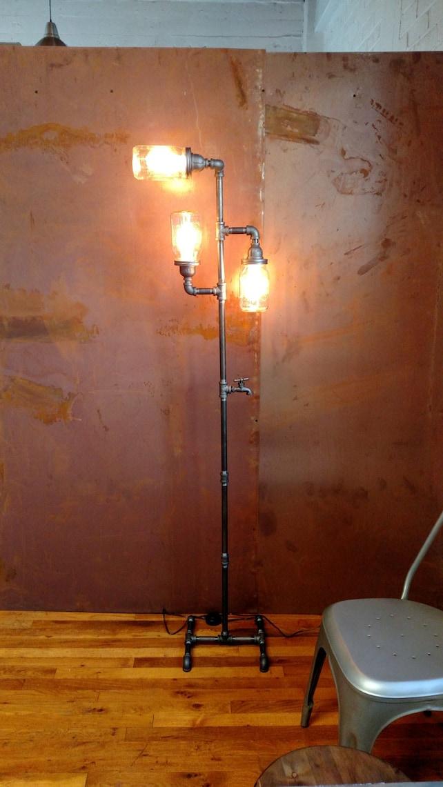 Edison floor lamp restoration hardware steampunk mason jar etsy image 0 aloadofball Images