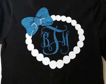 Bow with white purl and initials