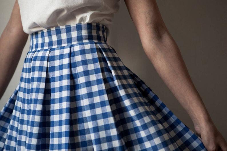baf92d53c3b2 BLUE GINGHAM SKIRT / Pleated skirt / Cotton skirt / Light Blue | Etsy