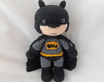 Crochet Batman, Amigurumi Batman, MADE TO ORDER, Crochet Dark Knight doll, crochet batman soft toy, Batman plushie