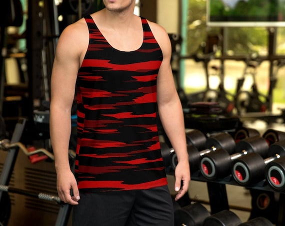 CAMOUFLAGE TANK TOP Mens Camouflage Top Red and Black Camo Print Tank Top Mens Athletic Tank Top Workout Tank Top Gym Tank Top for Men