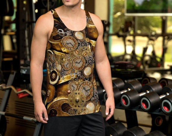 STEAMPUNK TANK TOP All Over Print Tank Top Mens Tank Top Unisex Steampunk Top for Men or Women Futuristic Clothing Steampunk Clothing