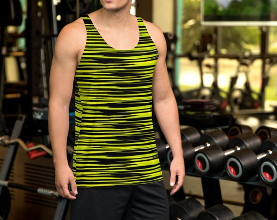 MENS TANK TOP All Over Print Tank Top Mens Tank Top for Men Workout Tank Top Sleeveless Tank Top Yellow and Black Tank Top Gym Tank Top