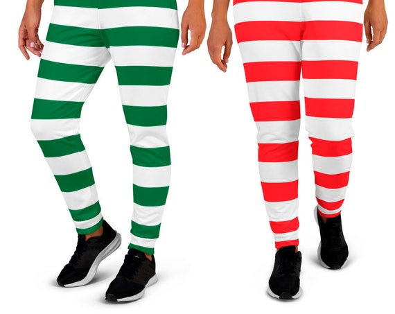 Candy Cane Striped CHRISTMAS JOGGERS SWEATPANTS Elf Striped Joggers Red and White or Green and White Unisex Joggers for Men and Women