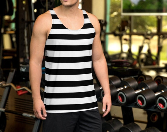 Mens HALLOWEEN TANK TOP Inmate Top Black and White Striped Tank Top Prisoner Criminal Tank Top for Halloween Costume for Men Jail Tank Top