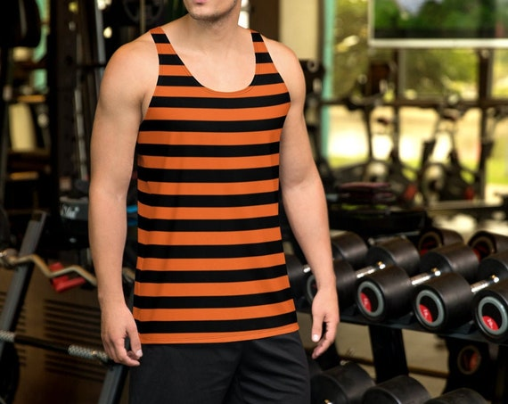Mens HALLOWEEN TANK TOP Inmate Top Orange and Black Striped Tank Top All Over Print Tank Top for Men Halloween Tank Top Sleeveless Tank Top
