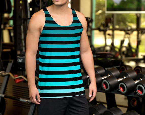 Striped MENS TANK TOP Ombre Striped Tank Top Mens Tank Top for Men Workout Tank Top Sleeveless Tank Top Blue and Black Tank Top Gym Tank Top