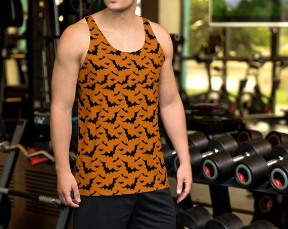 Mens HALLOWEEN TANK TOP All Over Print Tank Top for Men Halloween Bat Tank Top Sleeveless Tank Top Bat Tank Top Bat Shirt Orange or Purple