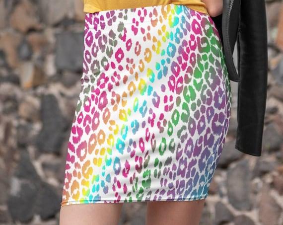 Leopard Print SKIRT Designer Fashion Skirt for Women Rainbow Ombre Colorful Spring Clothing Festival Clothing CHEETAH Animal Print Skirt