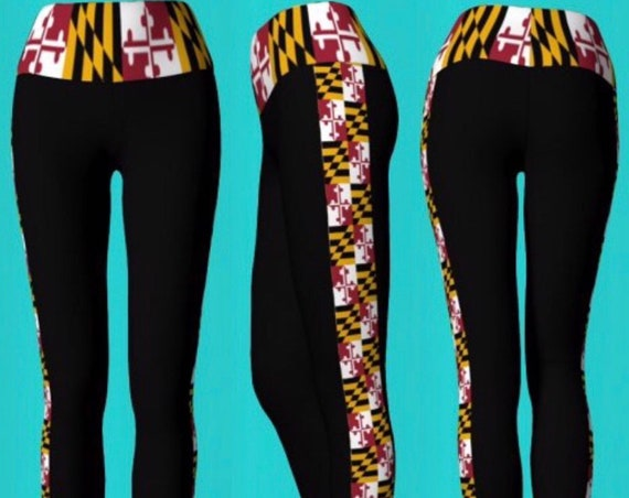MARYLAND FLAG LEGGINGS Yoga Pants Womens Designer Yoga Leggings Maryland Yoga Pants Maryland Flag Print Leggings Black Leggings with Stripe