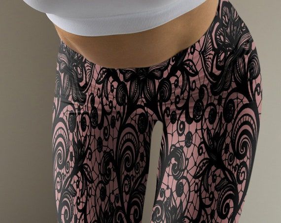 LACE LEGGINGS For Women Sexy Lace Print Nude and Black Yoga Leggings Womens Printed Leggings Yoga Pants Tights Pastel Goth Leggings Summer