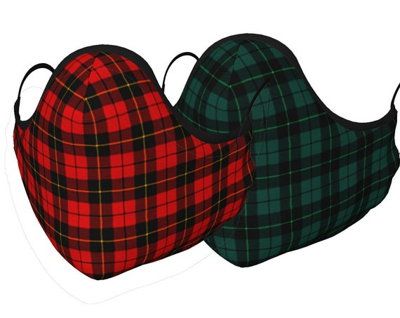 TARTAN Plaid Face MASK Face Covering Red Tartan Plaid or Green Plaid Face Mask w/ PM 2.5 Filters Unisex Adult + Youth Sizes Protective Mask