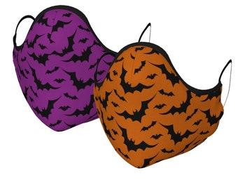 Bat Print Face MASK Face Animal Print Bat Mask Orange or Purple Face Mask w/ PM 2.5 Filters Unisex Adult + Youth Sizes Protective Mask