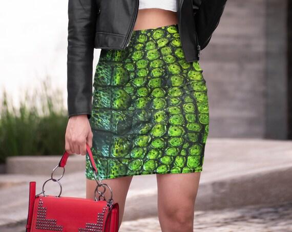 Crocodile Skirt WOMENS Reptile Scale Skin Animal Print Fashion Skirt High Waisted Skirt Slim Fitted Skirt Green Snake Print Reptile Skirt