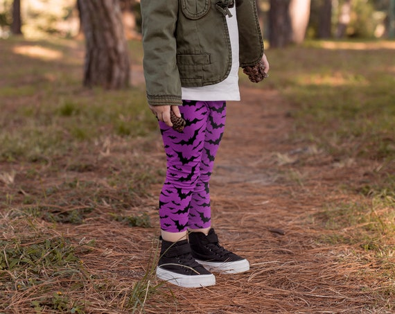 FALL LEGGINGS for Kids HALLOWEEN Leggings Witch Leggings Purple and Black Bat Print Leggings Baby Leggings Girls Clothing Halloween Kids