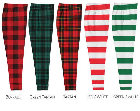 CHRISTMAS JOGGERS SWEATPANTS Unisex Joggers Striped or Red Buffalo Plaid Tartan Plaid Red or Green Striped Unisex Joggers for Men and Women