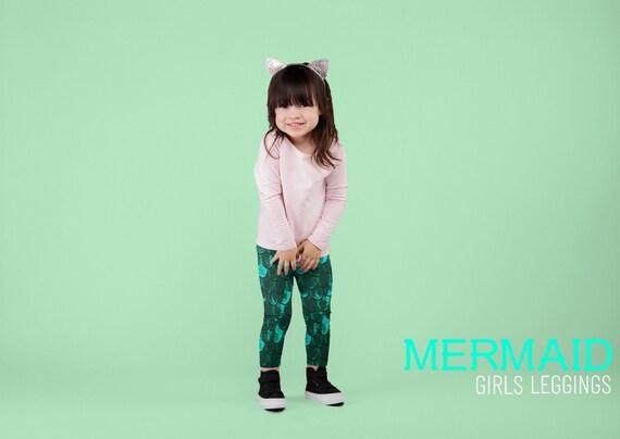 Green MERMAID LEGGINGS for GIRLS Mermaid Scale Leggings Girls Baby Leggings Toddler Leggings Kids Clothing Youth Leggings Back to School
