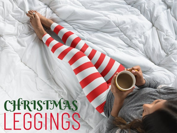CANDY CANE Striped LEGGINGS Christmas Leggings Striped Leggings for Women Striped Womens Yoga Leggings Red and White Candy Cane Yoga Pants