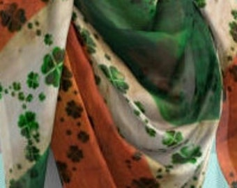 IRISH FLAG SCARF St Pattys Day Scarf Designer Fashion Scarf Womens Scarves Green and Orange Shamrock Clover Womens Scarves Square and Long