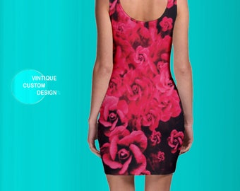 Red Rose DRESS Slimfit BODYCON MINI Dress for Women Red Rose Print - Sexy Mini Dress - Tight Red Dress - Sexy Red Dress - Club Dress Womens