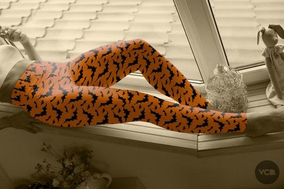 HALLOWEEN Print LEGGINGS Orange and Black Bat Leggings WOMENS Yoga Pants for Halloween Costume Fashion Tights Yoga Leggings for Halloween