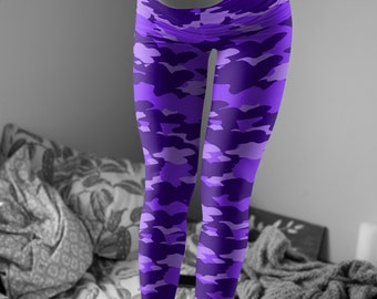 Purple and Black Camo LEGGINGS for Women Camouflage Printed Leggings Yoga Leggings Yoga Pants Valentines Day Leggings Fashion Leggings