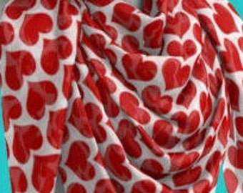 Red and White HEART Scarf For Women VALENTINES DAY Scarf Clothing Gift for Girlfriend Gf Gift for Wife Gift for Her Best Friend Gift Scarves