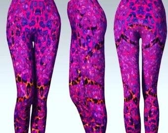 CHEETAH LEGGINGS Animal Print Yoga Leggings Yoga Pants WOMENS Leggings Summer Leggings Printed Leggings Fashion Leggings Sexy Leggings Pink