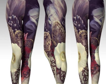LEGGINGS Womens YOGA PANTS Floral Print Leggings for Spring or Summer Womens Yoga Leggings Sexy Print Leggings Designer Fashion Clothing