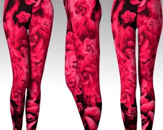 Red Rose LEGGINGS Sexy YOGA PANTS For Women Sexy Yoga Leggings Sexy Womens Leggings Sexy Print Leggings Red and Black Rose Print Leggings