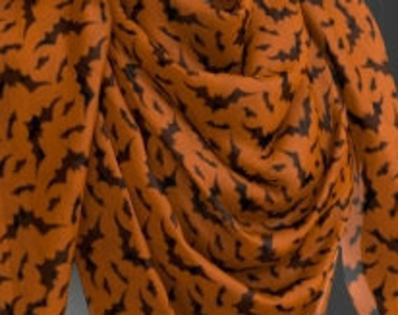 Orange and Black Womens SCARF Bat Print Halloween Fashion Scarf for Halloween Fashion Accessory Scarves Womens Designer Scarves Animal Print