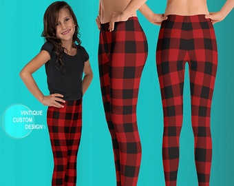Red and Black BUFFALO Plaid Christmas Leggings MATCHING Mommy and Me LEGGINGS Girls Leggings Toddler Leggings Baby Leggings Buffalo Check