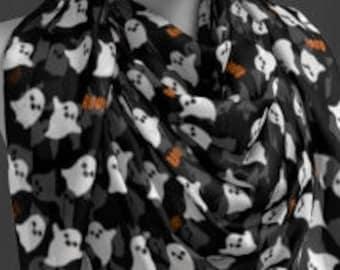 Halloween Ghost SCARF Halloween Scarf Designer Fashion Scarf Womens Scarves Black and Orange Ghost Boo Print Womens Scarves Square and Long