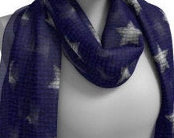 STAR SCARF Blue and White Scarf for Women USA Scarf Long & Square Styles Designer Scarves for Women Scarf Women's Fashion Accessories Scarf