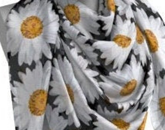 DAISY SCARF FLORAL Print Scarves with Daisies Women's Scarf Designer Fashion Scarf Womens ScarvesWomens Scarves Square and Long Spring Scarf