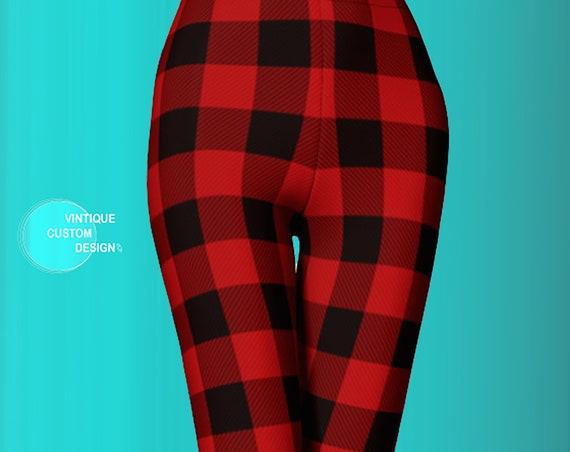 BUFFALO PLAID LEGGINGS Christmas Leggings for Women Plaid Yoga Leggings Womens Plaid Leggings Plaid Yoga Pants Red and Black Plaid Leggings