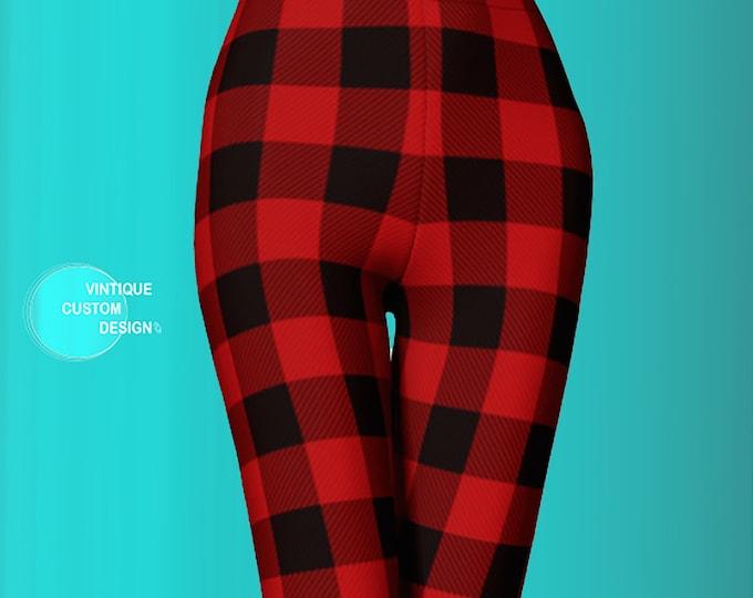 Featured listing image: BUFFALO PLAID LEGGINGS Christmas Leggings for Women Plaid Yoga Leggings Womens Plaid Leggings Plaid Yoga Pants Red and Black Plaid Leggings