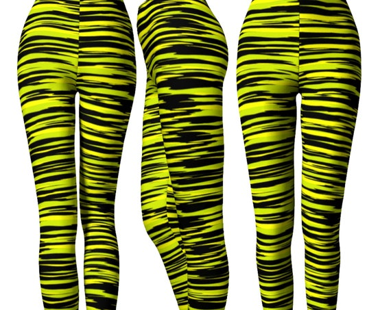 Black and Yellow LEGGINGS Bumble Bee Striped Leggings Womens Yoga Leggings WOMENS Yoga Pants Camouflage Leggings Workout Leggings Fitness