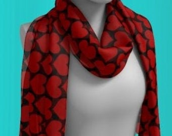HEART SCARF WOMENS Designer Scarf Long or Square Scarf Gift for Girlfriend Gf Gift for Wife Gift for Her Best Friend Gift Light Summer Scarf