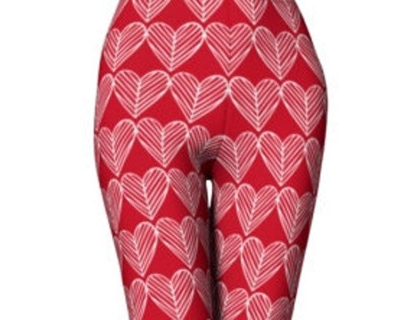 HEART LEGGINGS - Womens Leggings - VALENTINES Day Leggings - Yoga Leggings - Yoga Pants for Women - Red and White - Red Heart Leggings