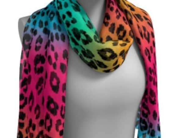 CHEETAH PRINT SCARF Tie Dye Animal Print Scarf Women's Long Scarf Women's Square Scarf Rainbow Cheetah Scarves for Women Rave Accessories