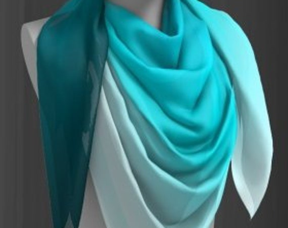Two Tone SCARF Ombre Light Flowy Scarf SUMMER SCARVES Long Scarf or Square Scarf Summer Accessories Women's Designer Scarves Gift for Her