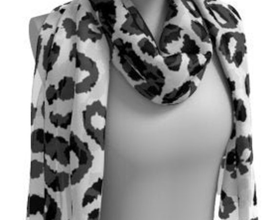 Black and White CHEETAH SCARF Animal Print Scarf Women's Long Scarf Women's Square Scarf Snow Leopard Print Scarves Summer Scarf Accessories
