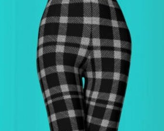 Grey Checkered PLAID LEGGINGS for Women Black and White Plaid Leggings Womens Sexy Leggings Sexy Print Leggings Yoga Pants Plaid Leggings