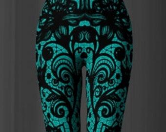 Lace PRINT LEGGINGS Pretty Lace Print Sexy Womens Leggings Sexy Yoga Pants Lace Print Pants Womens Leggings Art Tights Dance Leggings teal