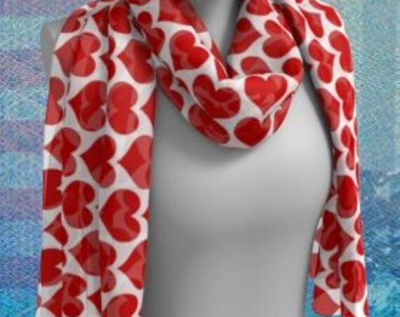 Red and White HEART Scarf For Women Patriotic Clothing 4th of July Gift for Girlfriend Gift for Wife Gift for Her Best Friend Gift Scarves