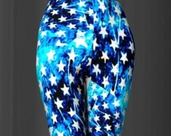 LEGGINGS Blue STAR Printed STARS Yoga Leggings Womens Yoga Pants Independence Day July Fourth Patriotic Leggings for 4th of July Summer