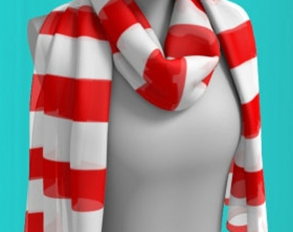 Red and White CANDY CANE SCARF Scarf for Women Long & Square Styles Designer Scarves for Women - Scarf - Women's Fashion Accessories Scarf