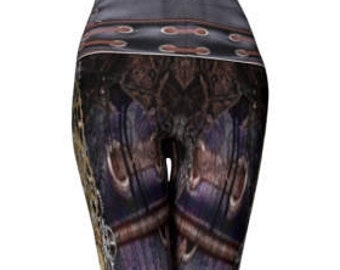 Steampunk LEGGINGS Womens YOGA PANTS Futuristic Clothing Cyberpunk Gothic Cosplay Larp Armor Clothing Sexy Print Leggings Goth Yoga Leggings