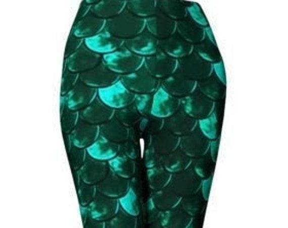 Women's MERMAID Leggings Green Mermaid Scale Printed Art Leggings for Women Yoga LEGGINGS Yoga Pants Designer Leggings Summer Clothing